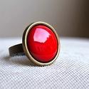 Piros tűzzománc gyűrű , Ékszer, óra, Esküvő, Gyűrű, Esküvői ékszer, Ékszerkészítés, Tűzzománc, Ez a telt, ragyogó piros tűzzománc köves gyűrű igazán tüzes darab, eleganciát és szenvedélyt sugall..., Meska