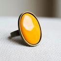 Okker sárga ovális tűzzománc gyűrű, Ékszer, Gyűrű, Ha szereted a különleges gyűrűket, tetszeni fog ez az ovális okkersárga (mustársárga) tűzzománc köve..., Meska
