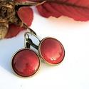 Rubin vörös áttetsző tűzzománc francia kapcsos fülbevaló, Gyönyörű, mély tüzű telt rubin vörös, legi...