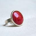 Burgundi - bordó kerek tűzzománc gyűrű, Ékszer, óra, Gyűrű, Ékszerkészítés, Tűzzománc, Minden évszakban tökéletes kiegészítő ez a gyönyörű burgundi vörös (bordó, meggypiros) tűzzománc be..., Meska
