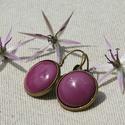 Padlizsán lila tűzzománc francia kapcsos fülbevaló, Az orgona lila árnyalatánál sötétebb, úgynev...