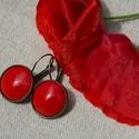Pipacs piros tűzzománc francia kapcsos fülbevaló, A klasszikus pirosnál kicsit kevésbé élénk, k...