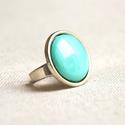 Világos türkiz kerek tűzzománc gyűrű, Ékszer, Gyűrű, Nagyon szép, érdekes világos kékes-zöldes türkiz árnyalatú színe van ennek a tűzzománc betétes gyűrű..., Meska