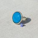 Türkiz kék kerek tűzzománc gyűrű , Ékszer, Gyűrű, Télen-nyáron igazi klasszikus viselet lehet ez a türkizkék (világoskék) tűzzománc gyűrű antik ezüst ..., Meska