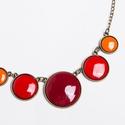 Hot and Spicy - narancs-vörös tűzzománc nyaklánc, Igazán tüzes darab ez az öt kör alakú elembő...