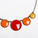 Sweet October - narancs-vörös-okker tűzzománc nyaklánc, Az őszi színek meleg vöröseit és sárgáit id...