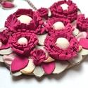 Pink dahlias garden-nyakék valódi bőrből, Ékszer, óra, Nyaklánc, Bőrművesség, Ékszerkészítés, Ennek a nyakéknek minden egyes darabja valódi bőrből készül,rendkívül aprólékos munkával. Ajánlom a..., Meska