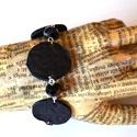 Elegant Black-valódi bőr karkötő, Ékszer, Karóra, óra, Egyedi és különleges karkötő valódi bőrből aprólékos munkával. Fekete bőr nyomott mintá..., Meska
