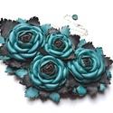 Jardin-Turquoise et Noir-nyakék valódi bőrből, Ékszer, Nyaklánc, Egy pompázatos kert, türkiz és fekete rózsa fejekkel rengeteg levéllel, luxuskivitelben! Ennek a nya..., Meska