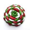 Trikolor-virág valódi bőrből , Ékszer, Bross, kitűző, Gyűrű, Medál, Egy pici virág extra piros, fehér, zöld színű valódi bőrből! Az ékszert egyéni technikámm..., Meska