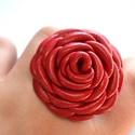 Rózsa extra-gyűrű valódi bőrből, Ékszer, Gyűrű, Egy extra-nagy rózsás gyűrű valódi bőrből, a rengeteg sziromnak és az aprólékos kidolgozásnak köszön..., Meska