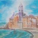 Tengerparti város, Képzőművészet, Festmény, Pasztell, Festészet, Egy hangulatos tengerparti város látható a képen, melyet pasztell krétával és ceruzával készítettem..., Meska