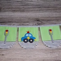 Autós zászlófüzér, Baba-mama-gyerek, Dekoráció, Gyerekszoba, Baba falikép, A zászlófüzér pamutvászon és filc felhasználásával készült, rátétes technikával. A zá..., Meska