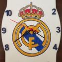 Real Madrid logós óra, Otthon, lakberendezés, Dekoráció, Férfiaknak, Falióra, óra, Kézzel festett egyedi fa óra Real Madrid logóval., Meska
