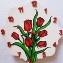 Tulipànos òra, Dekoráció, Otthon, lakberendezés, Falióra, óra, ., Meska