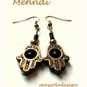 Mehndi tenyér- fülbevaló, Fekete és bronzszínű gyöngyökkel játszottam,...