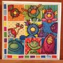 Gyerekmintás dekoráció - decoupage falikép (18x18 cm), Dekoráció, Baba-mama-gyerek, Gyerekszoba, Baba falikép, Decoupage, transzfer és szalvétatechnika, A képet decoupage technikával készítettem mdf lapra, melynek széle lépcsőzetesen kialakított.  Mére..., Meska