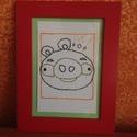 Angry Birds fonaldekoráció - fonalgrafikával készült falikép 16,6x21,5 cm, Dekoráció, Baba-mama-gyerek, Kép, Gyerekszoba, Varrás, A képet fonalgrafika technikával készítettem fényes papírra, melyet képkeretbe tettem.  A kép méret..., Meska