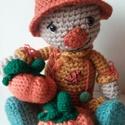 Madárijesztő,két kis tökkel., Játék, Játékfigura, Itt az ősz! Ennek jellegzetes figurája a madárijesztő. Az ősz minden színében pompázik. Nadrágja hóz..., Meska