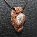 Barna virágos,egyedi különleges nyaklánc,ékszer, Ékszer, Nyaklánc, Különleges technikával készült,egyedi medál,bőr láncon,középen kézzel festett gyönggyel.   Bronz/bar..., Meska