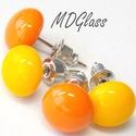 Narancs-sárga pötty fülbevaló, 2 pár, üvegékszer, Ékszer, Fülbevaló, Nap-sárga és narancssárga moretti üvegrúdból készült a kettő pár fülbevaló, fusing technikával.. A f..., Meska