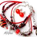 Vörös-narancs lámpagyöngyös karkötő fülbevalóval, ékszerszett, Ékszer, Ruha, divat, cipő, Karkötő, Fülbevaló, Fekete, sötét narancs, fehér moretti üvegrúdból készült a karkötő 2 db lámpagyöngye, gázláng fölött ..., Meska