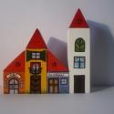 Meseváros 1 fakocka készlet, Játék, Fajáték, A készlet 8 darabból áll:  Anyaga: lakkozott fenyő         egy oldalon mintával   -4 db tető  -4 db ..., Meska