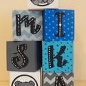 Betűkockák-Miska, Dekoráció, Játék, Fajáték, A betűkockák mérete 4x4x4 cm Kézzel festett mintával és betűvel díszítve!, Meska