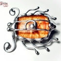 M.D. Üveg BrossBoga  NarancsHerceg , Saját tervezésű egyedi kézműves alkotás.  Az...