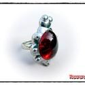 MD Vércsepp Üveg GyűrűBoga (gyerekméret), Ékszer, óra, Gyűrű, Egyedi, kemencében készült színesüveg-testű GyűrűBoga, ezüst színben. Antikolt, öregbített hatású fe..., Meska