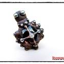 MD MályvaÜveg GyűrűBoga , Ékszer, óra, Gyűrű, Egyedi, kemencében készült színesüveg-testű GyűrűBoga, BabaPók, bronz színben. Antikolt, öregbített ..., Meska