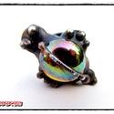 MD Sárga Irizáló Üveg GyűrűBoga, Ékszer, óra, Gyűrű, Egyedi, kemencében készült színesüveg-testű GyűrűBoga, bronz színben. Antikolt, öregbített hatású fe..., Meska