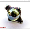 MD HalványSárga Üveg GyűrűBoga (gyerekméret), Ékszer, óra, Gyűrű, Egyedi, kemencében készült színesüveg-testű GyűrűBoga,bronz színben. Antikolt, öregbített hatású fel..., Meska