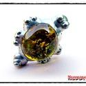 MD Napsárga Üveg GyűrűBoga (gyerekméret), Ékszer, óra, Gyűrű, Egyedi, kemencében készült színesüveg-testű GyűrűBoga, ezüst színben. Antikolt, öregbített hatású fe..., Meska