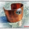 MD Steampunk Karperec Óceán-jáspis ásvánnyal, Ékszer, óra, Karkötő, Széles, nyitott csukló, vagy alkarperec, 1mm-es vastagságú, nagy tisztaságú vörösrézből. Rajta átmér..., Meska