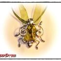 Nit-Nit. BogaNyakék Riolit ásványból, ezüst színben., Ékszer, Nyaklánc, Színes szatén/zsinór kombó szálon (45-50cm, lánchosszabbítóval)  Boga mérete: 15x40x40mm  Jellegzete..., Meska