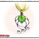 VíziBoga MMM (zöld) Nyakék, Ékszer, Nyaklánc, Medál, Üvegművészet, Fémmegmunkálás, ViziBoga (MMM-Méltatlanul Mellőzött Módosulat) Nyakék üvegből, ezüst színben.  Szatén/zsinór kombó ..., Meska