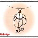 VíziBoga MMM (fehér) Nyakék, Ékszer, Nyaklánc, Medál, ViziBoga (MMM-Méltatlanul Mellőzött Módosulat) Nyakék üvegből, ezüst színben.  Cápazsinóron. (45cm) ..., Meska