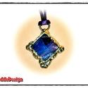 Tiffany nyakék színes üvegkből, Ékszer, Medál, Nyaklánc, Tiffany Nyakék melegen rétegesre hengerelt különböző színű és struktúrájú üvegekből, ezüst színben. ..., Meska
