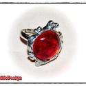 Ragyogó piros GyűrűBoga, Ékszer, Gyűrű, Ékszerkészítés, Üvegművészet, Ragyogó piros GyűrűBoga ezüst színben.  Ródiumozott, állítható (17-19mm) gyűrűalapon.  Boga mérete:..., Meska