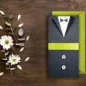PRITY ESKÜVŐI MEGHÍVÓ, Esküvő, Meghívó, ültetőkártya, köszönőajándék, Fotó, grafika, rajz, illusztráció, Papírművészet, ÖTLETES ESKÜVŐI MEGHÍVÓ ÖLTÖNYÖS, MENYASSZONYI RUHÁS MEGOLDÁSSAL  • alapja sötétszürke karton • mel..., Meska