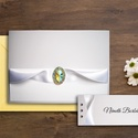LUNA ESKÜVŐI SZETT (meghívó + ültetőkártya), Esküvő, Szerelmeseknek, Meghívó, ültetőkártya, köszönőajándék, Papírművészet, FEHÉR ESKÜVŐI MEGHÍVÓ ÉS ÜLTETŐKÁRTYA SZATÉNSZALAGGAL ÉS KŐVEL  Az esküvői meghívó • alapja fehér, ..., Meska