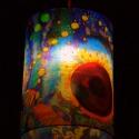 Selyemlámpa (Somogyi Réka selyemfestménye), Otthon, lakberendezés, Lámpa, Fali-, mennyezeti lámpa, Mindenmás, Selyemfestés, Egyedi mennyezeti lámpabúra, Somogyi Réka selyemfestő altal készitett eredeti selyemfestményből.  M..., Meska