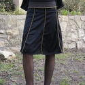 Fekete harangszoknya, Ruha, divat, cipő, Női ruha, Szoknya, Varrás, Fekete szoknya kétféle pamut póló anyagból. A varrások kívül vannak, sárga cérnával - látszanak. Al..., Meska