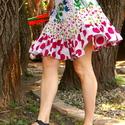 Fodros pöttyös szoknya, Ruha, divat, cipő, Női ruha, Szoknya, Varrás, Háromféle mintás, pöttyös 100% indiai pamut anyagból készűlt bő harangszoknya, gumis derékkal.  Alj..., Meska