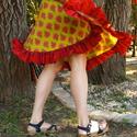 Fodros pöttyös szoknya, Ruha, divat, cipő, Női ruha, Szoknya, Varrás, Kétféle mintás 100% indiai pamut anyagból készűlt bő harangszoknya, gumis derékkal, fodorral.  Alja..., Meska