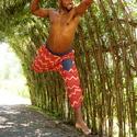 Afro nadrág, Ruha, divat, cipő, Női ruha, Nadrág, Férfi ruha, Varrás, Bő nadrág kétféle 100% pamut anyagból (vékony farmer és szines indiai).  Derekea gumis. Más színből..., Meska