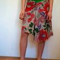 Indiai virágos szoknya, Ruha, divat, cipő, Női ruha, Szoknya, Varrás, Virágos szoknya kétféle könnyű indiai 100% pamut anyagból.  A-vonalú egyedi szabású csípőszoknya ké..., Meska