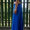 Hosszú szoknya, Ruha, divat, cipő, Női ruha, Szoknya, Varrás, Kétféle rugamas pamut anyagból készült a szoknya. Alja szegetlen. A vonalú szabással, gumis derékka..., Meska