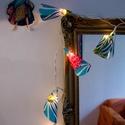 Lámpafüzér, Karácsonyi, adventi apróságok, Otthon, lakberendezés, Karácsonyfadísz, Lámpa, Mindenmás, 10 égős lámpafüzér saját tervezésű és készítésű búrákkal indiai pamut anyagból. A füzér 2 m hosszú ..., Meska